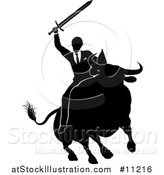 Vector Illustration of a Black and White Silhouetted Business Man Holding a Sword and Riding a Stock Market Bull by AtStockIllustration