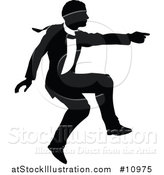 Vector Illustration of a Black and White Silhouetted Business Man Jumping and Pointing by AtStockIllustration