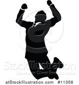 Vector Illustration of a Black and White Silhouetted Business Man Jumping by AtStockIllustration