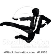 Vector Illustration of a Black and White Silhouetted Business Man Kicking by AtStockIllustration