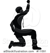 Vector Illustration of a Black and White Silhouetted Business Man Kneeling and Cheering by AtStockIllustration
