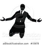 Vector Illustration of a Black and White Silhouetted Business Man Kneeling and Worshipping by AtStockIllustration