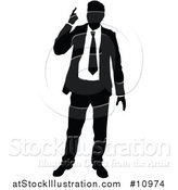 Vector Illustration of a Black and White Silhouetted Business Man Pointing Upwards by AtStockIllustration