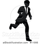 Vector Illustration of a Black and White Silhouetted Business Man Running by AtStockIllustration