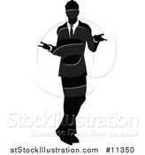 Vector Illustration of a Black and White Silhouetted Business Man Shrugging by AtStockIllustration