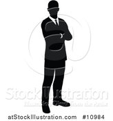 Vector Illustration of a Black and White Silhouetted Business Man Standing with Folded Arms by AtStockIllustration