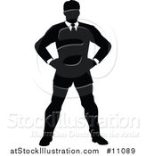 Vector Illustration of a Black and White Silhouetted Business Man Standing with Hands on His Hips by AtStockIllustration