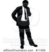 Vector Illustration of a Black and White Silhouetted Business Man Thinking by AtStockIllustration