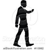 Vector Illustration of a Black and White Silhouetted Business Man Walking and Checking His Watch by AtStockIllustration
