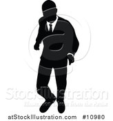 Vector Illustration of a Black and White Silhouetted Business Man Walking by AtStockIllustration