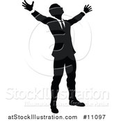 Vector Illustration of a Black and White Silhouetted Business Man Worshipping by AtStockIllustration