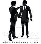 Vector Illustration of a Black and White Silhouetted Business Men Shaking Hands by AtStockIllustration