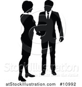 Vector Illustration of a Black and White Silhouetted Business Woman and Man Shaking Hands by AtStockIllustration