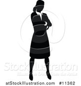 Vector Illustration of a Black and White Silhouetted Business Woman by AtStockIllustration