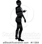 Vector Illustration of a Black and White Silhouetted Business Woman Pointing by AtStockIllustration