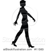 Vector Illustration of a Black and White Silhouetted Business Woman Walking by AtStockIllustration