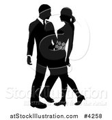 Vector Illustration of a Black and White Silhouetted Couple Embracing by AtStockIllustration