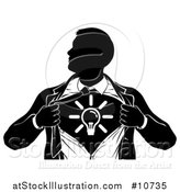 Vector Illustration of a Black and White Silhouetted Creative Super Hero Business Man Ripping His Shirt Open and Revealing a Light Bulb by AtStockIllustration