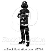 Vector Illustration of a Black and White Silhouetted Fireman Standing with Folded Arms by AtStockIllustration