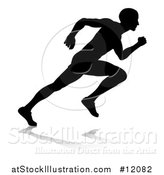 Vector Illustration of a Black and White Silhouetted Male Sprinter by AtStockIllustration