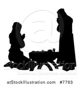 Vector Illustration of a Black and White Silhouetted Mary and Joseph Praying over Baby Jesus by AtStockIllustration