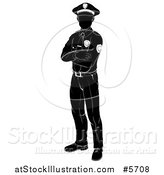 Vector Illustration of a Black and White Silhouetted Police Mom Standing with Folded Arms by AtStockIllustration