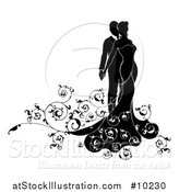 Vector Illustration of a Black and White Silhouetted Posing Bride and Groom by AtStockIllustration