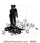 Vector Illustration of a Black and White Silhouetted Posing Bride and Groom with Swirls by AtStockIllustration