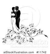 Vector Illustration of a Black and White Silhouetted Posing Wedding Bride and Groom by AtStockIllustration