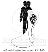 Vector Illustration of a Black and White Silhouetted Posing Wedding Bride and Groom with a Bouquet by AtStockIllustration