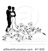 Vector Illustration of a Black and White Silhouetted Posing Wedding Bride and Groom with Floral Swirls by AtStockIllustration
