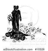 Vector Illustration of a Black and White Silhouetted Posing Wedding Couple with Swirls by AtStockIllustration
