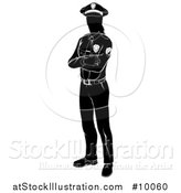 Vector Illustration of a Black and White Silhouetted Standing Female Police Officer with Folded Arms by AtStockIllustration