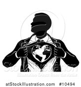 Vector Illustration of a Black and White Silhouetted Strong Business Man Super Hero Ripping off His Suit and Revealing a Heart Earth by AtStockIllustration
