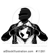 Vector Illustration of a Black and White Silhouetted Strong Business Man Super Hero Ripping off His Suit and Revealing Earth by AtStockIllustration