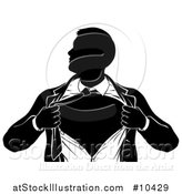 Vector Illustration of a Black and White Silhouetted Strong Business Man Super Hero Ripping off His Suit by AtStockIllustration