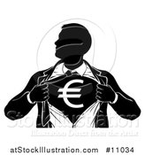 Vector Illustration of a Black and White Silhouetted Strong Business Man Super Hero Ripping off His Suit, Revealing a Euro Currency Symbol by AtStockIllustration