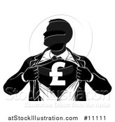 Vector Illustration of a Black and White Silhouetted Strong Business Man Super Hero Ripping off His Suit, Revealing a Pound Currency Symbol by AtStockIllustration