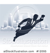 Vector Illustration of a Black and White Silhouetted Super Businesss Man Flying near a City by AtStockIllustration