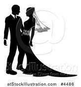 Vector Illustration of a Black and White Silhouetted Wedding Couple Embracing by AtStockIllustration