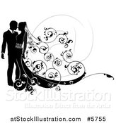 Vector Illustration of a Black and White Silhouetted Wedding Couple with a Swirl Floral Train by AtStockIllustration