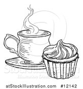 Vector Illustration of a Black and White Sketched Cupcake and Tea or Coffee by AtStockIllustration