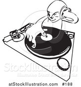 Vector Illustration of a Black and White Sketched DJ Mixing His Records and Holding Headphones by AtStockIllustration