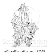 Vector Illustration of a Black and White Sketched Haunted House by AtStockIllustration