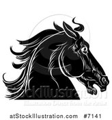 Vector Illustration of a Black and White Sketched Horse Head in Profile by AtStockIllustration