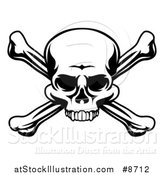 Vector Illustration of a Black and White Skull and Crossbones by AtStockIllustration