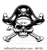 Vector Illustration of a Black and White Skull Wearing an Eye Patch and Pirate Hat over Crossbones by AtStockIllustration