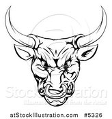 Vector Illustration of a Black and White Snarling Aggressive Bull Mascot Head by AtStockIllustration