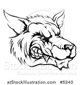 Vector Illustration of a Black and White Snarling Aggressive Wolf Mascot Head by AtStockIllustration