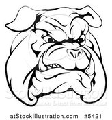 Vector Illustration of a Black and White Snarling Bulldog Mascot Face by AtStockIllustration